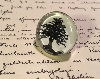 Lovely picture ring, adjustable ring, glass ring, jewelry gift, silver plated ring, black white ring.