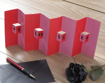 3D Pop up I LOVE you Valentines Day Card - Pink & Red