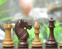"""The Bridle Knight Series Wooden Chess Pieces in Shesham & Box Wood - 4.0"""" King. SKU: M0050"""