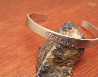 Hand stamped aluminum bracelet cuff personalized with name-Name bracelet-Name cuff-Personalized bracelet-Personalized cuff-Personalized gift