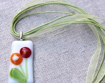 Glass flower pendant - Art glass pendant with flower design