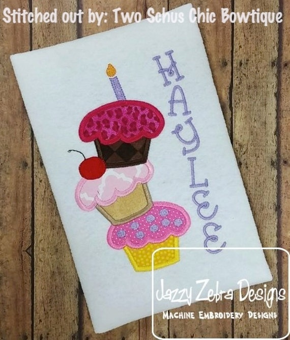 3 stacked Cupcake Tower Appliqué embroidery Design - birthday appliqué design - cupcake appliqué design