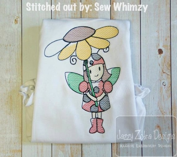 Lady Bug Girl with Flower Sketch Embroidery Design - spring Sketch Embroidery Design - ladybug Sketch Embroidery Design - girl Sketch