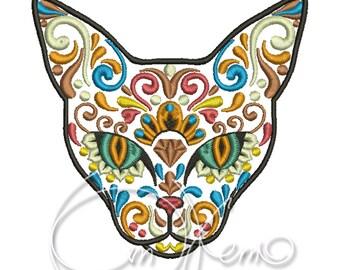 MACHINE EMBROIDERY DESIGN - Calavera cat, Dia de los muertos, Mexican design, Halloween design, Day of the dead