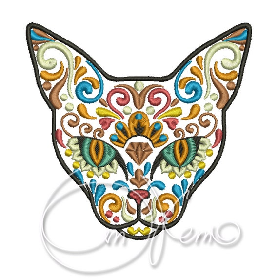 Machine embroidery design calavera cat dia de los muertos