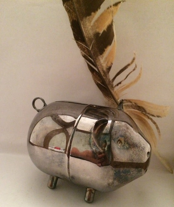 Vintage Lunt Silver Plate Piggy Bank Coin By