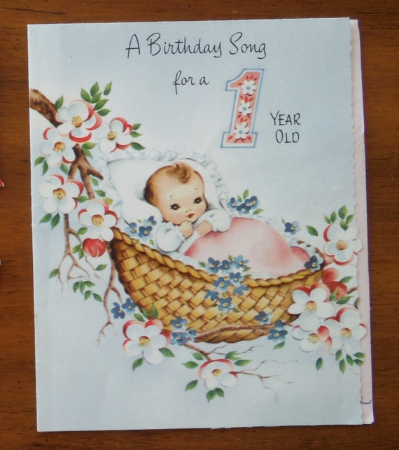 Vintage Happy Birthday 1 Year Old Card Rock-a-Bye-Baby Song