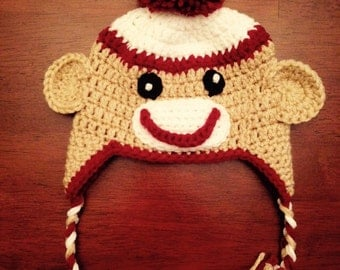 Crochet Sock Monkey Hat: Made to Order (choose your size)