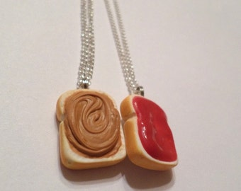 Peanut Butter and Jelly Necklaces, Polymer Clay Best Friends Food Jewelry