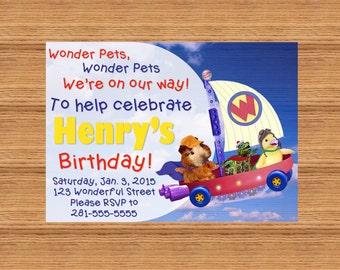 PRINTABLE Custom Invitation - Wonder Pets on the Fly Boat Birthday Invitation