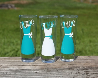 8 Personalized shot glasses. Great for bachelorette and wedding parties. Custom shot glasses.