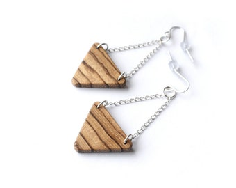 Wooden Triangle Earrings, Zebrawood, Chain Hanging Triangles