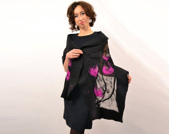 Large nuno felted shawl to dress. black with amaranth. hand made in unique design. Natural silk, merino wool, eco materials