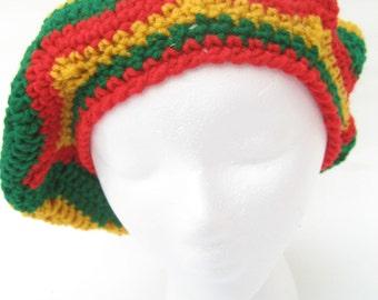 Mexican crochet beret, fiesta tam, yellow slouchy, Caribbean beret, crochet tam, rasta tam