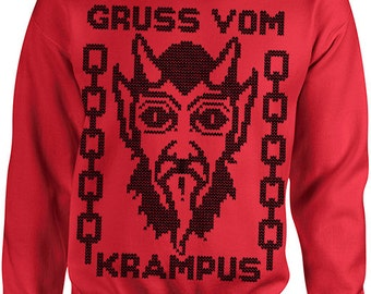Ugly Christmas Sweater - Gruss Vom Krampus -  Funny Christmas Sweater