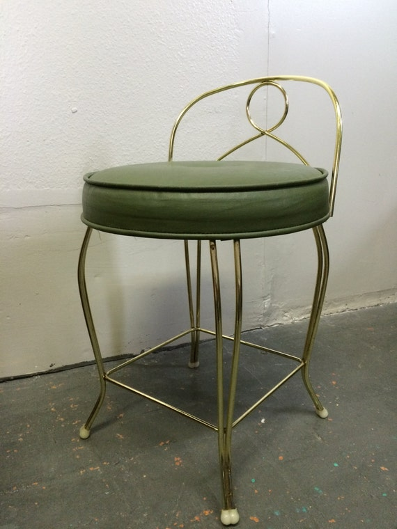 Mid century modern vintage vanity chair stool with green seat - Antique vanity stools ...