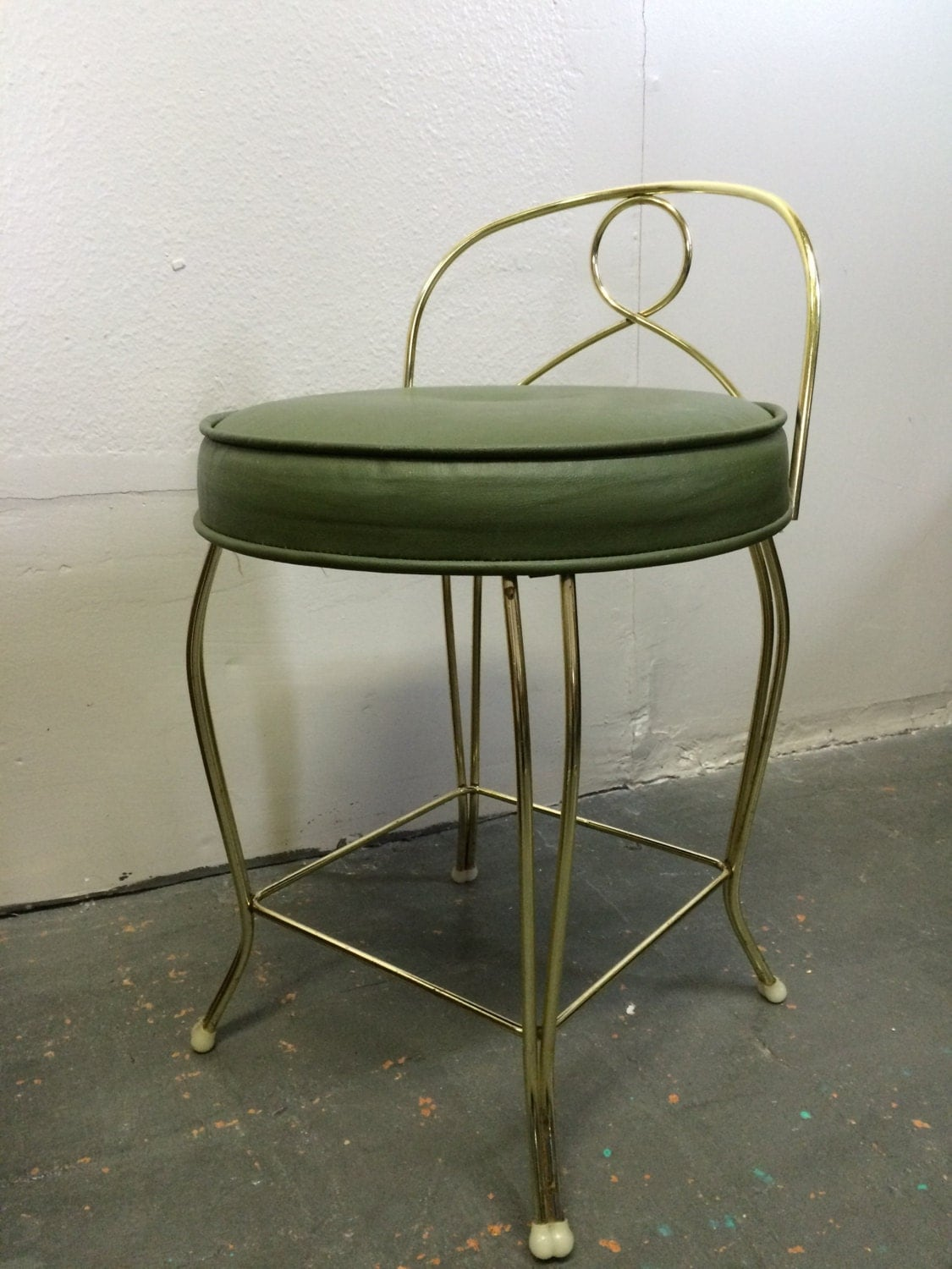 Mid century modern vintage vanity chair stool with green seat brass finish by koch haute juice - Antique vanity stools ...