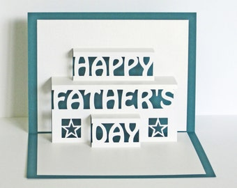Father's Day Card 3D Pop Up - Happy Fathers Day Card Teal 3D Paper Cut