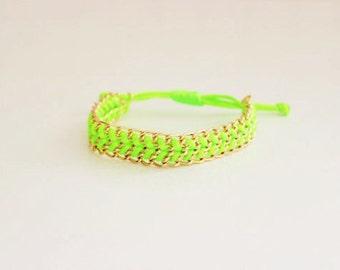 Neon Green Chain Ribbon Bracelet