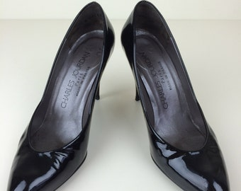 Charles Jourdan black patent leather pumps 6B 80's