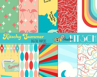 Kitschy Summer Digital Paper Set, 1950, 50's, Backgrounds, retro, flamingos, waves, surf, map, boomerang, motel signs, CU, INSTANT DOWNLOAD