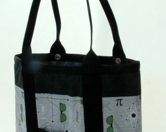 Gray Math Science Nerd Fabric handbag, tote or computer bag  for all occasions the Lena Bag