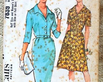 Vintage Shirtwaist Dress pattern // McCall 7839 // vintage dress pattern