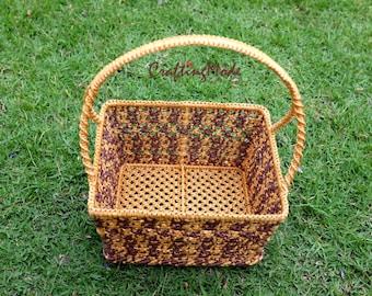 Macrame, Basket,Handmade,Medium size,Natural color ,Birch and Brown colors ,Storage,Picnic,Decorative,Gift,Outdoor,Weaving basket.