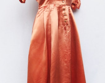 1930's-40's Pink Silk Satin Dress with Metal Buttons