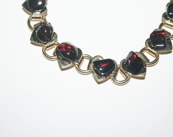 7 in Vintage Gold-Tone Bracelet with red stones   Elegant   Free US Shipping