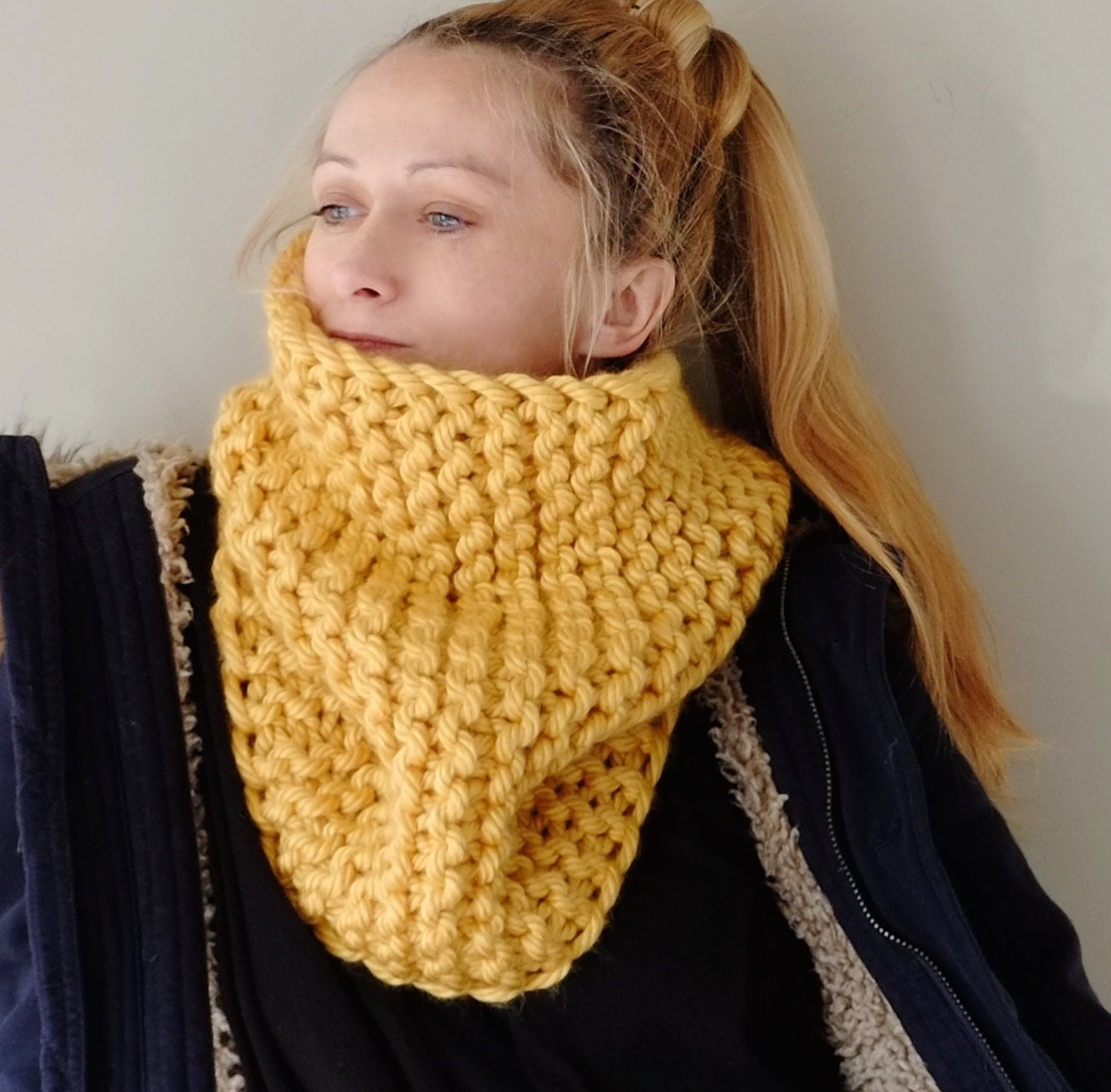 Knit Pattern Cowl Neck Warmer : Chunky Knit Cowl Neck Warmer / Hand Knit Cowl In Yellow