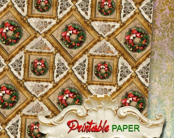 CHRISTMAS WREATH - Printable wrapping paper for Scrapbooking, Creat - Download and Print