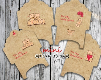 LOVE BEARs - Printable 4 Mini Envelopes Download Digital Collage Sheet  - Print and Cut
