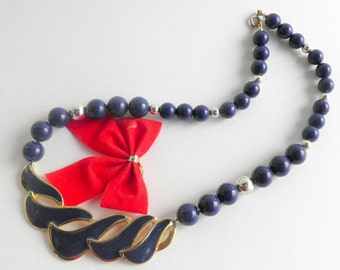 Retro Mid Century 1970's Enameled Blue and Gold Tone Necklace Waves Fashion