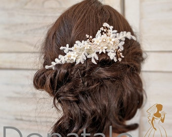 Wedding hair piece ,Wedding hair accessory ,Bridal  hair comb, Wedding Hair Flower Ivory Gold Lace - AGNES