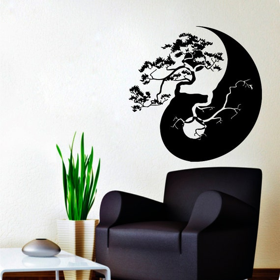 wall decals tree bonsai decal vinyl sticker yin yang chinese tree home decor kitchen interior design bonsai tree interior