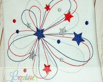 Patriotic Firework Redwork Digital Machine Embroidery Applique Design 6 Sizes
