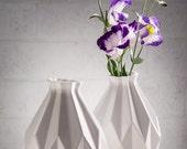 Geometric vase, White ceramic vase, Origami inspired holiday Gift idea, flower vase, Modern home decor vase