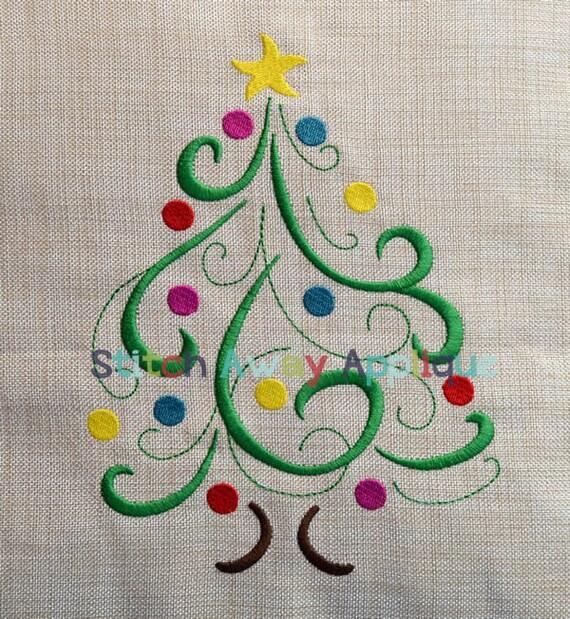 Swirly Christmas Tree Machine Embroidery Design