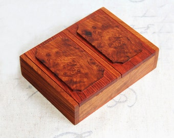 """5"""" Rosewood Cigarette Box with Two Compartments and Rosewood Burl Patches, Jewelry Chest, Trinket Box, Wooden Storage Box"""