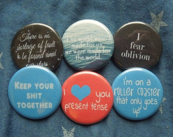 Fault in Our Stars 6 Button Set 2 Pinback Buttons, Badges, Pins