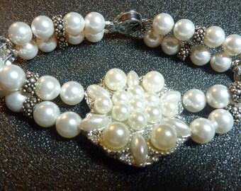 "BEEutiful Swarovski Pearl ""Brooch"" Type Wedding Bracelet -- ""June"""