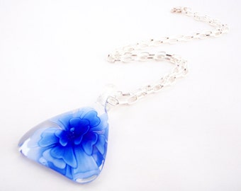Blue flower pendant. Silver necklace with lampwork glass flower pendant. Blue necklace. Gift for girlfriend, sister, mom
