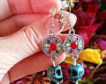 Colorful Dia de los Muertos Sugar Skull Calavera Earrings.