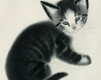 """Matted Kitten Print by Clare Turlay Newberry C. 1941 Vintage Decor Sketch Illustration 10x10"""""""
