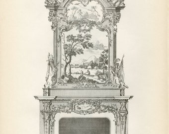"Vintage Chippendale Furniture Print ""Chimney Piece"" Fireplace Mantle c-1938 Antique Chippendale Vintage Decor"
