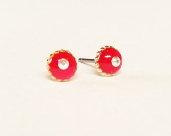 Red earrings, Sparkly small pink red stud earrings, Minimalist sparkly gold earrings, Rhinestone earrings, 6mm, Resin Jewelry