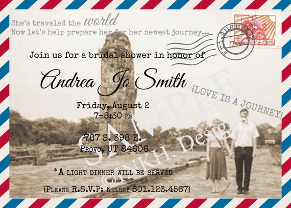 travel theme bridal shower invitation printable by inkhdesigns, Bridal shower invitations