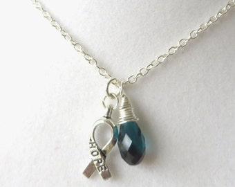 Teal Awareness Ribbon  Hope Survivor Silver Ribbon Pendant Necklace You Choose Ribbon Design