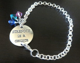 Thyroid Cancer Awareness Strength is a Choice Crystal Bicone Charms YOU Choose Bracelet Length